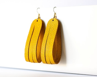 Leather Earrings / Sliced Leather / Tuscan Sun