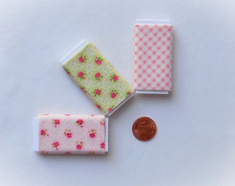 Dollhouse Miniature Set of Three Bolts of Fabric - Pink Roses Assortment, 1:12 scale