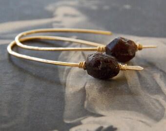 Garnet Earrings, Organic Unpolished Garnet Gold Fill Earrings, Minimalist, Modern, Earthy, Zen, January Birthstone