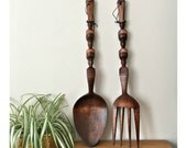 Large Tiki Fork and Spoon Wall Decor
