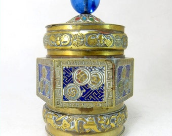 SALE! Antique Chinese Jar, Oriental Brass & Champleve Enamel Octagonal Tea Caddy Canister,Glass Finial 1930s
