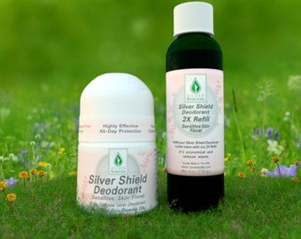 Silver Botanicals' Silver Shield Deodorant Floral Scent and Refill, All-Natural, Aluminum-Free, Colloidal Silver Deodorant