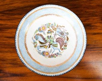 Vintage Austrian Blue Horse Steinbock Enamel Coin Tray, Shabby Chic Home Decoration, Housewarming Jewelry Dish Present, Wedding Gift Ideas