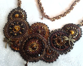 Reduced Price, Steampunk Style Handbeaded Necklace with Seed Beads and Swarovski Crystals
