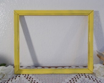 Yellow Picture Frame 11 x 14 Photo Decoration Upcycled Vintage Wood Rustic Shabby Chic Distressed Country Farmhouse Retro Cottage Home Decor