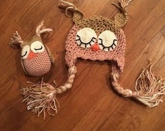 Crochet owl earflap hat with stuffed owl