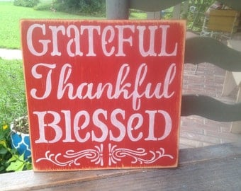 Orange and Ivory Grateful Thankful Blessed Sign, Wooden Fall Home Decor, Primitive Fall Signs
