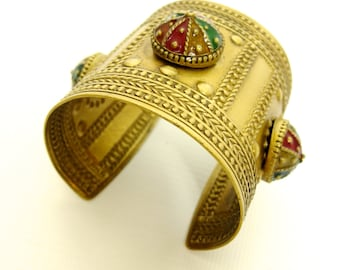 Beautiful Giant Tribal Brass Metal Hippie Cuff With Enamelled Details