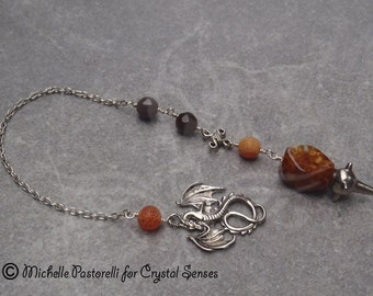 Dragon Gemstone Crystal Dowsing Pendulum (DP0063)