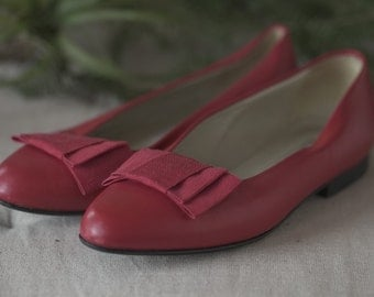 Laura Ashley, Red Leather Party Flats, Size 5.5