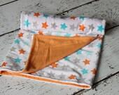 Gender Neutral Grey, Turquoise, Orange Star Double Minky Baby Crib Blanket