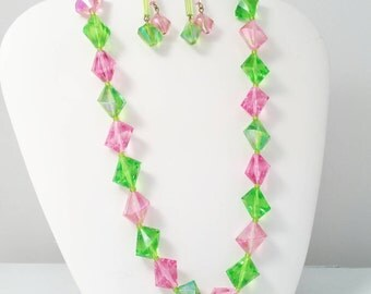 Pink Green Vintage Lucite Necklace with Matching Dangle Earrings Set, Flirty Feminine Spring and Summer Jewelry