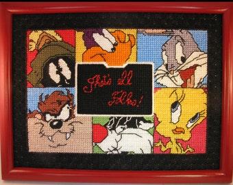Looney Tunes characters Framed picture Tweety, Sylvester, Tas, Pepe le Pew, Martian, Tweetie, Road Runner