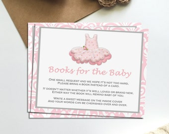 Pink and Gray Tutu Books for Baby Printable Insert INSTANT DOWNLOAD