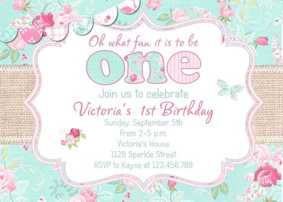 Shabby Birthday Invitation -  First Birthday Invitation - Printable Invite