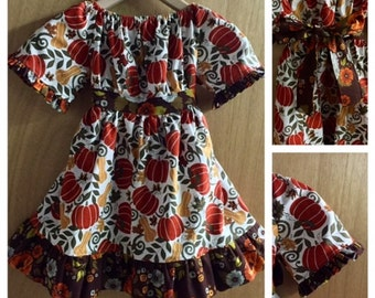 Fall/Thanksgiving Boho Peasant/Prairie Dress, girls size 5