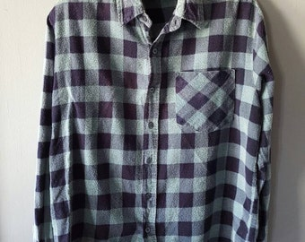 Vintage Buffalo Plaid Super Soft 100% Cotton Grunge Button Down Long Sleeve Green Flannel, Size M