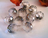 Sparkling Faceted Crystal Rondelles - Clear With Gray Shadings - Large Hole - Sets of 10