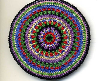 Dollhouse Miniature Round Mat Carpet Rug - Black, Red, Blue, Green, Violet and Yellow - one Inch Scale