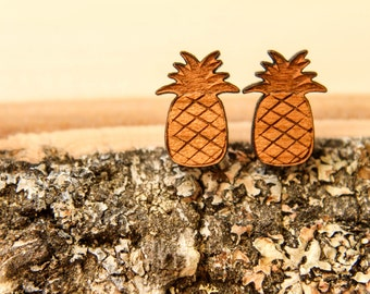 Pineapple Studs, Laser Cut Wood Earrings, Sustainable Cherry Wood