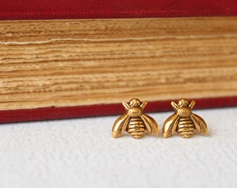 Bee Earrings in Antiqued Gold