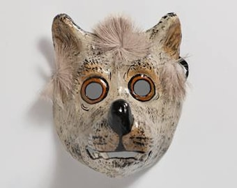 handmade paper mask wolf