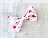 White with red love heart print Pin up hair bow Kawaii Valentine's