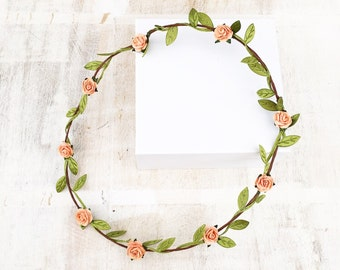 Pretty peach floral headband garland head dress festival hippy