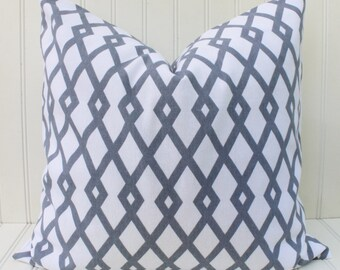 Gray White Pillow Cover, Throw Pillow, Decorative Pillow, Accent Pillow, Geometric Trellis, Modern Pillow, Grey Cushion 18 inch