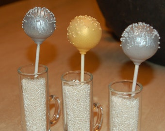 SILVER AND GOLD Cake Pops, Wedding Cake Pops