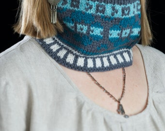 Wool neck warmer, knit cowl, head band, multicolor scarf