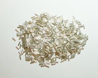 "Silver Glass Bugle Beads-1/4"" (20grams)(0.075oz) Package"