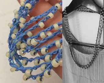 Beaded crochet triple wrap necklace or bracelet Japanese toho glass beads BLUE