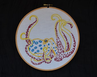 Blue Ringed Octopus Embroidery Hoop