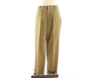 Vintage 70s Plaid Pants 34 Waist Flat Front Trousers Tan Rust Mens 1970s Rockabilly Preppy