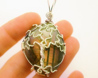 Unique Labradorite Tree of Life Pendant - Silver and Purple with Gold