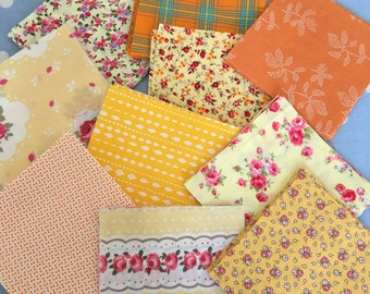 """40 x 5"""" yellow / orange cotton fabric patchwork squares ,sewing,patchwork,quilt,quilt making,crafts,childrens crafts"""