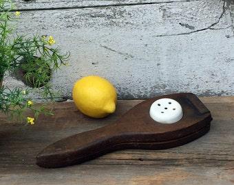 Vintage Primitive Hinged Lemon Squeezer - Wood and Porcelain - Kitchenalia - Lemon Press