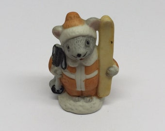 Russ Figurine SKIER Lil' Mouse Town Porcelain Miniature Occupation Mice