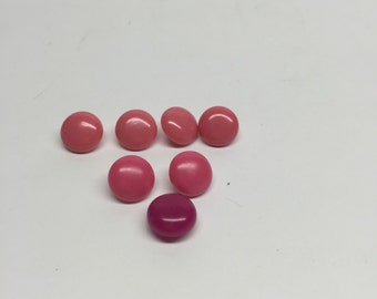 "7 pink shank buttons  1/2""  4 pink, 2 raspberry, 1 plum vintage"
