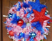 PATRIOTIC Wreath with STARS and FIRECRACKERS