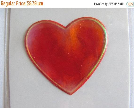 ON SALE Rare Vintage Oilie Heart Sticker - 80's Liquid Oily Scarlet Red Iridescent Gold Opal Finish Cherry Crimson Scrapbook