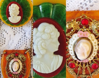 Bakelite Cameo Jewelry Brooch and Necklace 149.00 each