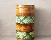 Special box, gift for her, Jewelry storage box, wooden box with green vintage pattern, storage box, OOAK
