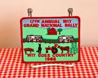 vintage iron on patch - 'WIT GOES COUNTRY' grand national rally wit budge