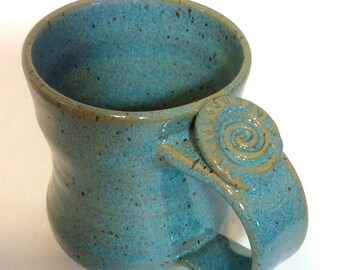Pottery Coffee Mug, Handmade Turquoise Ceramic Mug with Thumb Rest, Lauren Bausch