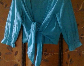 90s turquoise tie crop blouse by Phool