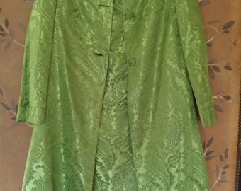 60s green paisley sateen dress and coat set, hand made.