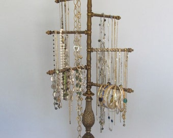 RESERVED -6-Arm Jewelry Organizer on Antique Brass Base   Swivel Cascade   Adjustable   Vintage   Store Display   Gifts for Her