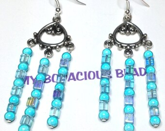 """Handmade 3"""" TRIPLE CHANDELIER EARRINGS Aqua Iridescent and Round Art Glass Beads Silver Trim French Wires"""